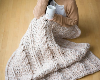 Chunky Braided Cabled Blanket Crochet Pattern
