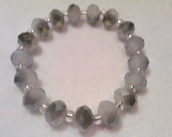 Grey and White Beaded bracelet