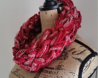 Red Glitzy Knit Infinity Cowl Scarf