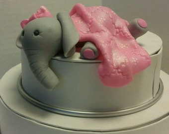 Edible Baby Elephant with Blanket Cake Topper