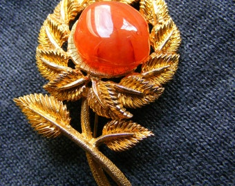 Beautiful pin vintage, flower, flower, agate?