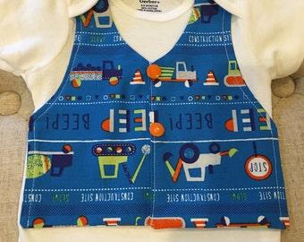"""Boy's Faux Vest Onesie """"Truckin"""" - 3-9 months"""