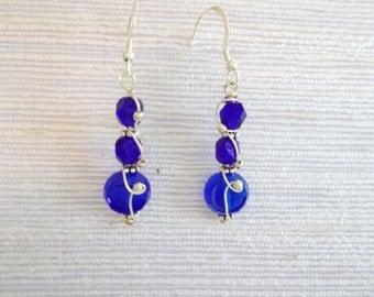 Wire Wrapped Blue Earrings