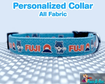 Personalized Shiba Collar - Snap Buckle - Martingale - All Fabric