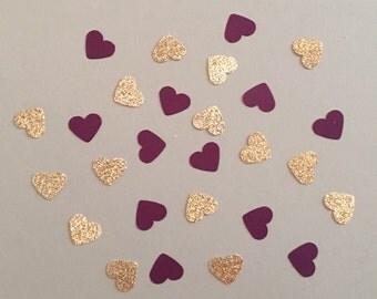 200 Plum and Gold Confetti Heart Confetti Glitter Confetti Shower  Confetti Baby Confetti Wedding Confetti Birthday Confetti Bachelorette