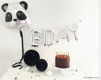 "28"" Panda balloon, birthday decoration, photo prop, first birthday, black and white, kids birthday party decoration"