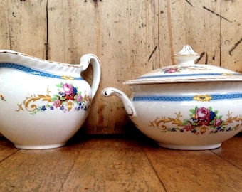 Johnson Brothers china cream and lidded sugar bowl set made in England, vintage dishes
