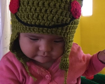Hand knitted frog Hat