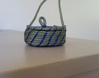 Small Coiled Basket with Attached Lid