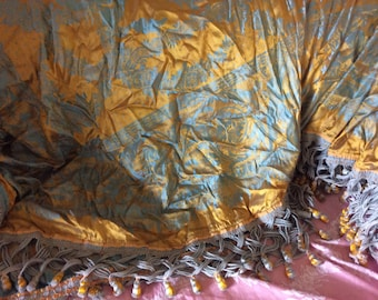 Antique Bedspread/Cover, Silk Damask Brocade, Bird and Foliage, Blue and Gold