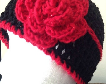 Black Crochet Hat with Red Flower