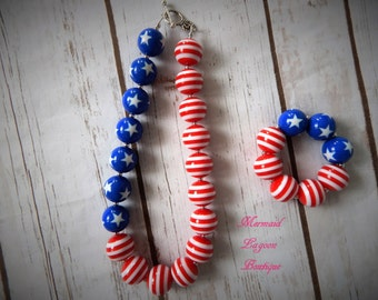 Patriotic Flag Beaded Chunky Bubblegum Necklace and bracelet set. 4th of July Memorial Day Veterans day Presidents day Red white and Blue