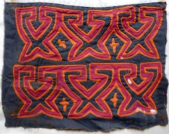 Vintage Mola - Panama Native Textile - Handcraft  Fabric Art - Red, Orange, Black Geometric Motif - Traditional Fine Needlework