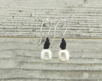 Pearl earrings, drop earrings, leather earrings, sterling silver earrings, silver earrings, birthday gift, gift idea, E 134-1