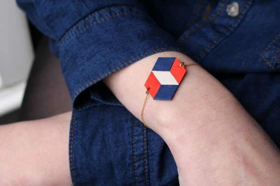 """Leather bracelet """"Checkerboard"""" no1"""
