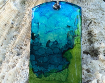 Alcohol Ink Lime Green & Blue Dog Tag Necklace