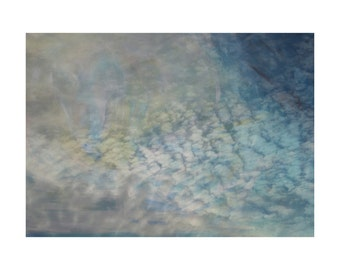 clouds, print, wall art, blue