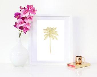 DIGITAL DOWNLOAD, Gold Palm Tree, Palm Tree Art, Palm Tree wall decor, Palm Tree