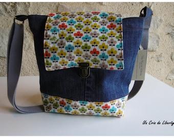 handbag, bag shoulder recycled jean, coated canvas and linen