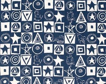"David Walker FreeSpirit Cotton Fabric ""Jeans and Things""  Stars Squared Indigo"