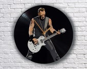James Hetfield Metallica painted retro vinyl clock. Ideal gift for melomaniac. Mancave