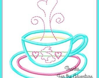 Alice in Wonderland White Rabbit Tea Cup Digital Embroidery Machine Applique Design File 4x4 5x7 6x10