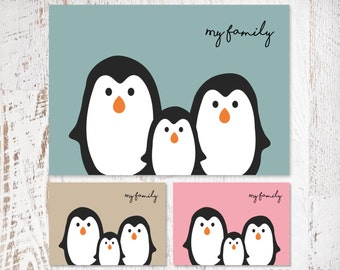 My Family Penguin Print (one child)