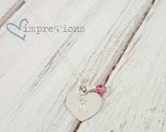 Small Heart Necklace Girl Flowergirl Junior Bridesmaid Sterling Silver