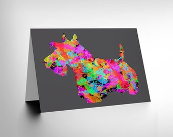 Scottish Terrier Dog Card - Colourful Scottie Scotland Blank Greetings Card CL100