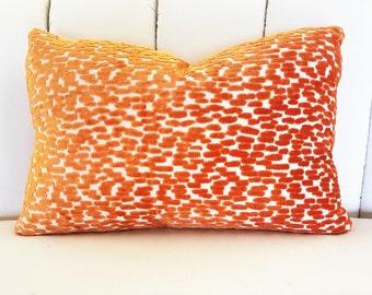 One (1) Designer Kidney Pillow COVER 24 x 17 - Duralee Tangerine
