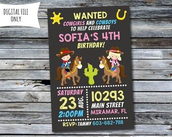 Cowgirl Invitation / Cowgirl Cowboy Invitation / Cowgirl Cowboy Birthday Invitation (Personalized) Digital Printable File