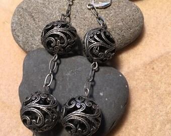Gun metal swill ball  earrings
