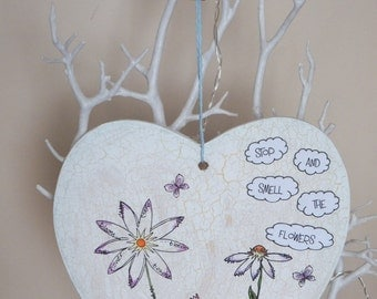 """Large hand painted flower plaque """"Stop and smell the flowers"""""""