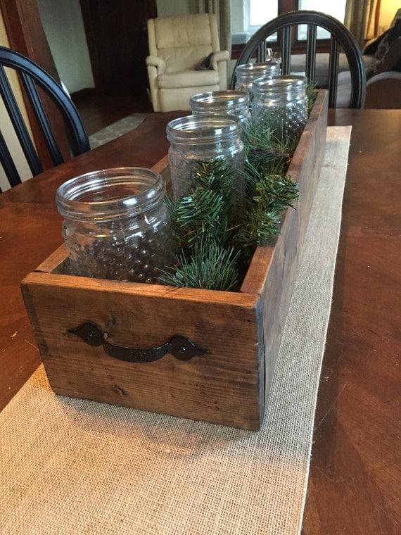 Long wooden box planter centerpiece window
