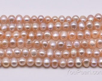 Natural pink peals, 6-7mm potato fresh water pearl strands, genuine natural color loose pearl beads, full strand for girl jewelry FP350-PS