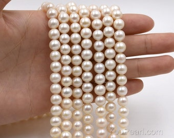 A+ fresh water pearl, 7-8mm white round pearl loose beads, genuine freshwater pearl, real cultured pearl bead, full strand, FR400-WS