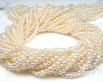 3-3.5mm seed pearl beads, natural colour white potato seed bead pearl string, genuine freshwater small pearl beads, full strand, FS500-WS