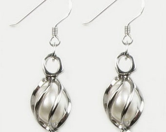 7-8mm white pearl dangle cage earrings, wish genuine pearl teardrop earrings, 925 sterling silver freshwater pearl hook earring, F1990-WE