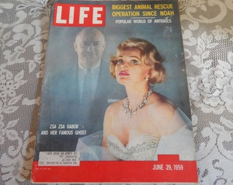Life Magazine June 29, 1959: Color cover - Zsa Zsa Gabor and her famous ghost writer, Gerald Frank.