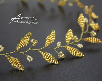 Gold Beads Wreath, gold plated wire, bridal gold wreath