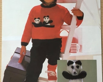 Sirdar Original Vintage Knitting Pattern Childrens Panda Toy and Sweater Front Pocket Jumper 22 24 26 28 inch chest No. 4544