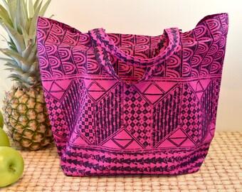 Hawaiian Print Tote Bag in Hot Pink and Black, Hawaiian Kapa Inspired Bold Print Market Bag, Pink Hawaiian Print Bag, Folding Cotton Tote