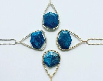 Blue Crazy Lace Agate Pendant, Beaded Pendant, Beaded Jewelry, Handmade Jewelry, Handmade