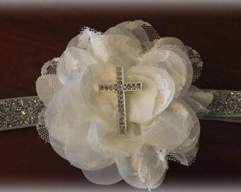 Baptism headband big flower
