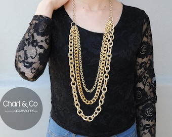 Maxi necklace. Long necklace. Multi strand necklace. Necklace chains. Made in Italy