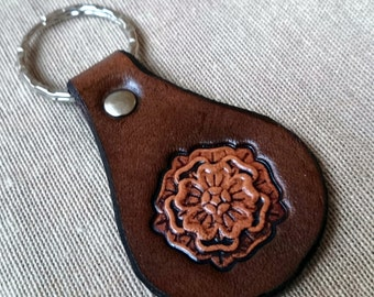 LEATHER KEYCHAIN - LOTOS // Flower // Party favor // Little gift //Leather key fob // Leather keyfob // Keychain // Keyfob // Keyring //