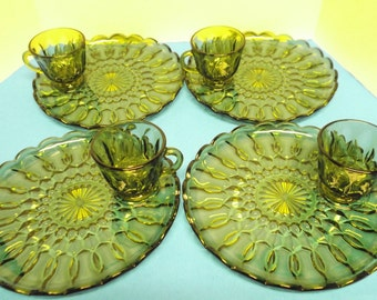 Vintage Anchor Hocking Green Fairfield Luncheon Plate & Cup Set