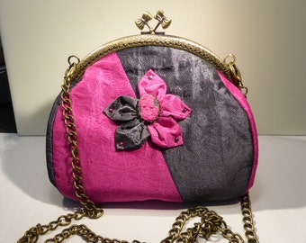hot pink and gray taffeta evening bag / / wedding bag / / baptism bag / / kawaii bag