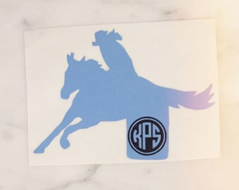 Barrel Racing Western Horse Monogram Decal - equestrian sticker