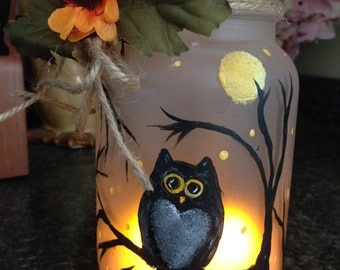 Hand Painted Antique Mason Jar with Owl
